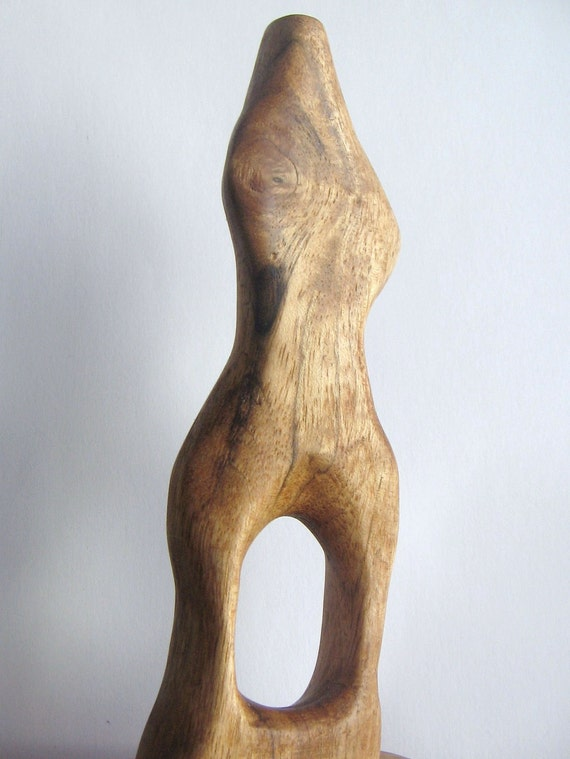 Lady, a  Small Wooden Abstract Sculpture (Hand Carved Butternut Wood)