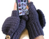 Crochet Fingerless Gloves, Wool blend, Convertible Mittens in Violet READY TO SHIP