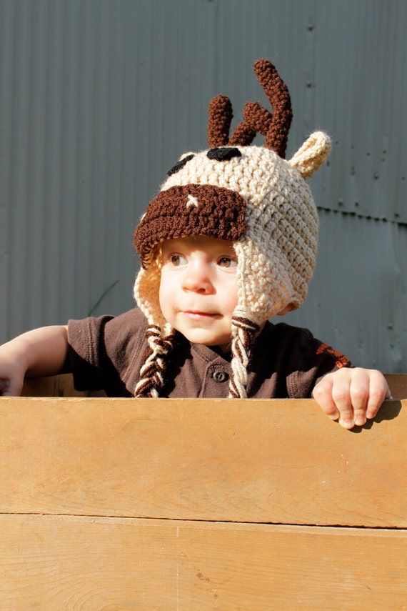 Crochet Deer Hat, Moose Hat, Newborn, Toddler, Childrens Hat, Made to Order