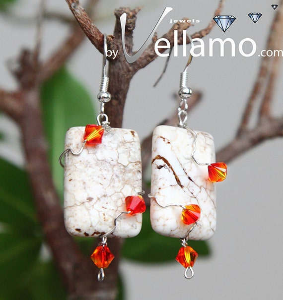Fire and Snow, white turquoise rectangular earrings with sterling silver wire and fire color Swarovski crystals, 25mm x 18mm, one of a kind