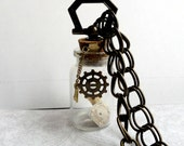 Steampunk Necklace Glass Vial Necklace with Tooth and Watch face Steampunk Jewelry Bone Jewelry Halloween Necklace Unisex Jewelry