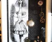 Alice in Wonderland Steampunk Shadow Box - Whimsical Decorative Box - Children's Room Decor - Steampunk Box - Steampunk Decor - Disney Decor