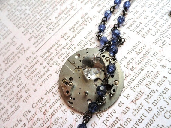 Steampunk Necklace Gear Necklace with Crystal Heart blue/purple Beads watch movement Steampunk Jewelry Wedding Jewelry steampunk heart