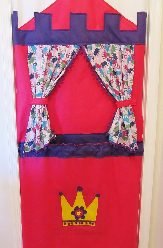 Karla Parsons Personalized Hot Pink and Purple Princess Castle Doorway Puppet Theater