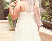 Wedding veil 1 tier veil with satin ribbon single tier bridal veil ivory bridal veil 36inch veil simple veil