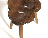 Wood Art, Wood Carving, Hand Carved Wooden Stool -Vine Leaf, MADE TO ORDER