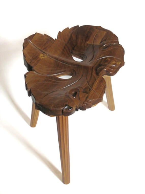 Wood Art Wood Carving Hand Carved Wooden Stool Vine Leaf