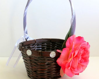 CLEARANCE - Flower Girl Basket - Wedding Flower Girl Basket - Pink Rose Basket - Espresso Basket - Gift Basket - Storage Basket