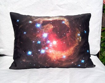 OVERSTOCK: Monocerotis Nova Star Pillow Cover - NASA Hubble Outer Space Galaxy Image on Fabric, in Red, Orange, Black