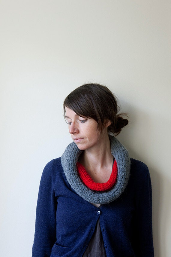 Grey and Red Knitted Cowl