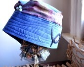 Women's Leather Hat - Blue Suede Hat - upcycled