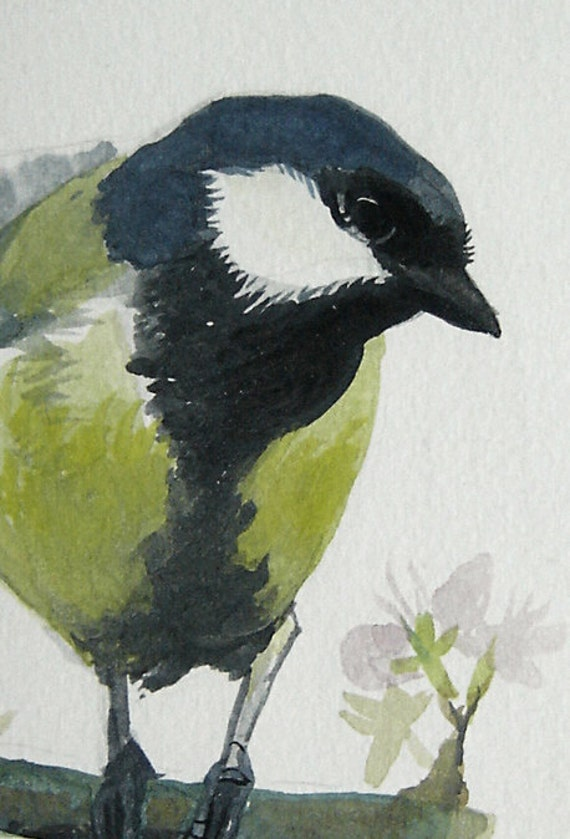 Chickadee Bird Painting, Great Tit, framed original watercolor painting - bird-lover gift, vintage frame