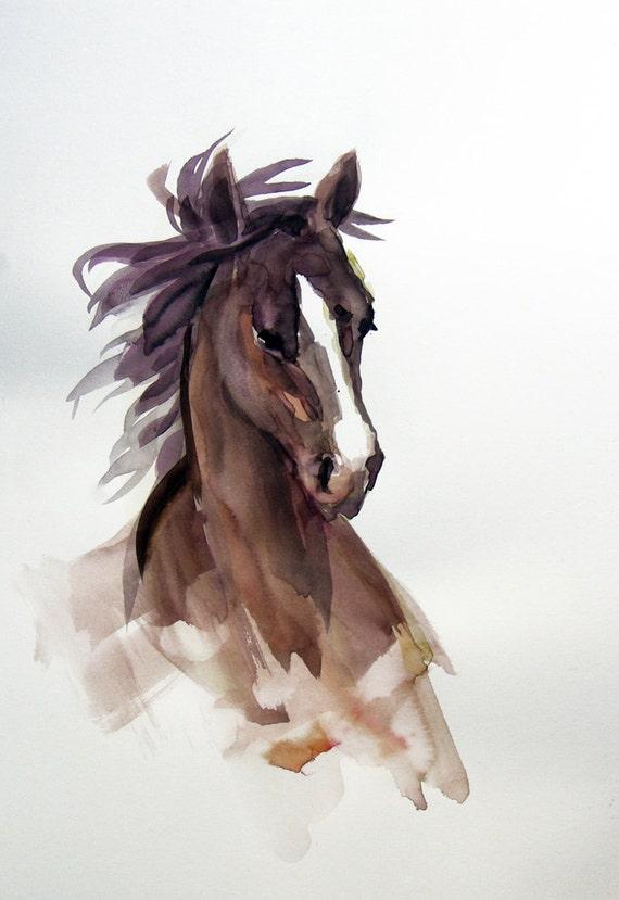 Arabian Chocolate Brown Horse Original Watercolor Painting, running horse, gift for him, girl gift, white, horse lover, jockey gift