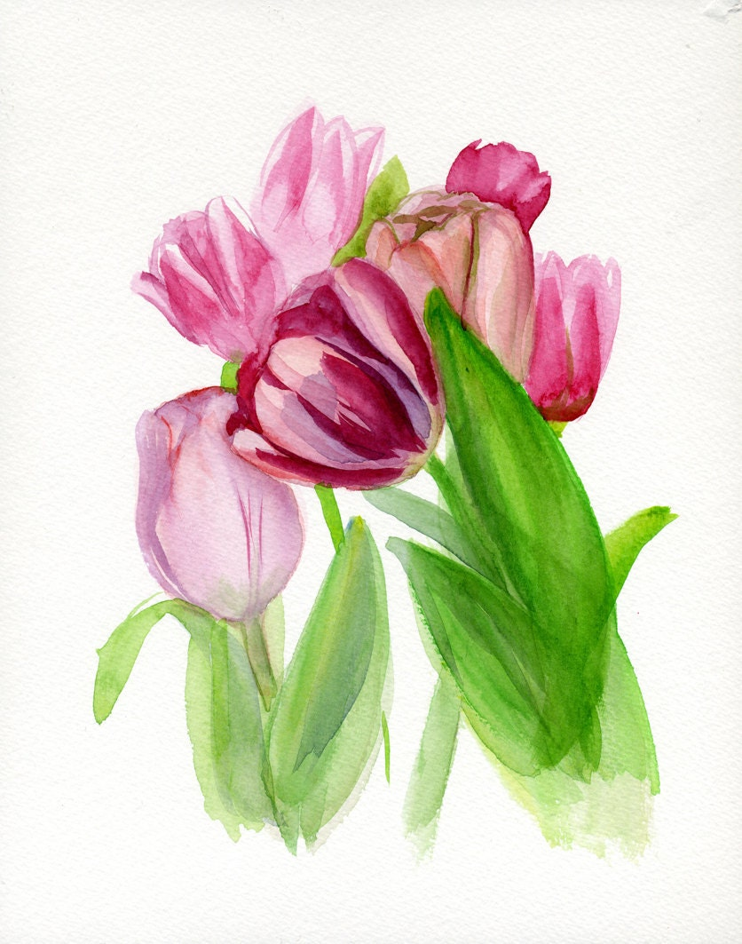 Spring flower painting pink carmine green by for Spring flowers watercolor