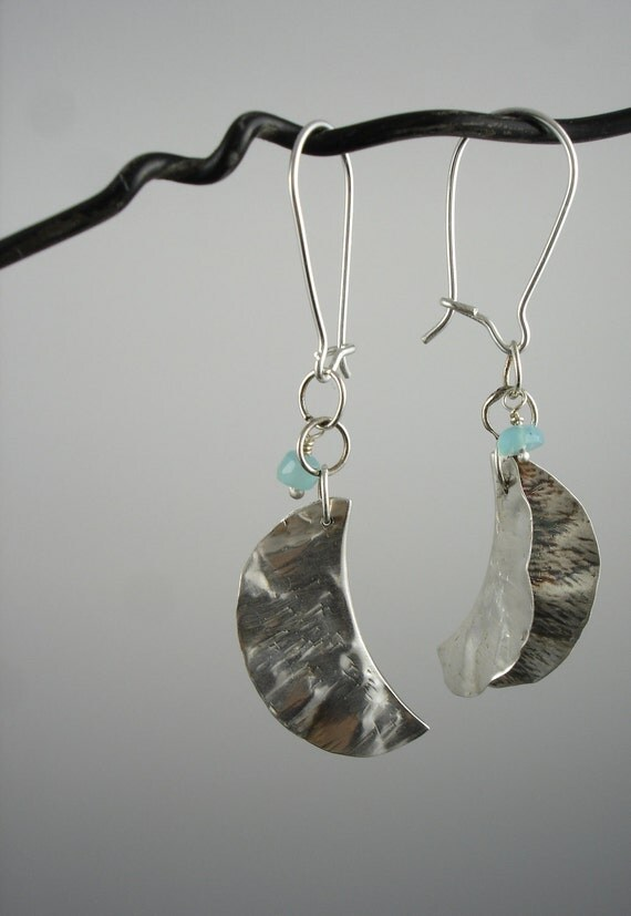 Dangly sterling silver leaf and blue opal earrings