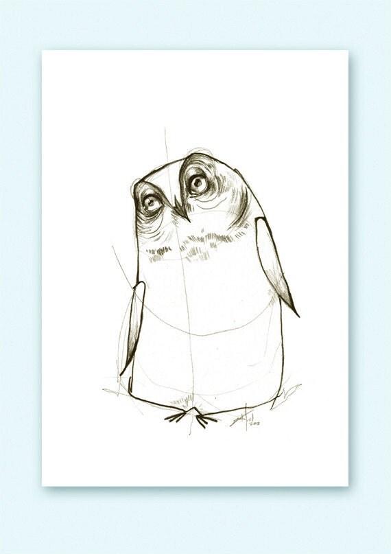Owl Helpful Print A5 Sepia from original illustration
