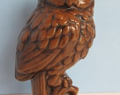 Quaint Ceramic Owl Perched on a Stump made in 1975 with a Brown Glaze and Black Accents