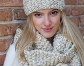 Cream Knitted Headband Cowl and Brooch