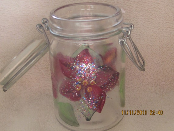 Hand painted Storage Glass with cover free shipping