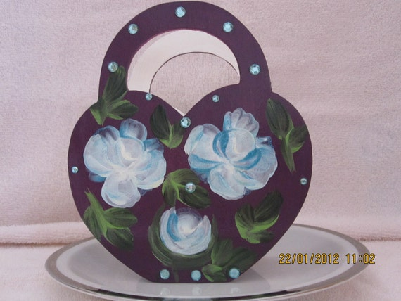 Basket with white and blue roses hand painted with rhinestones