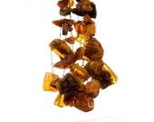 Statement necklace, BIB, big chunky amber nuggets on knotted hemp