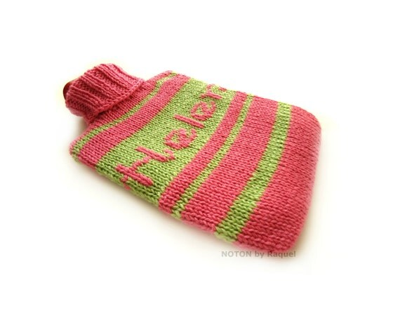 Knit Hot-water Bottle Cover in Pink for Helen