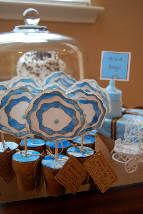 12 Baby Shower Party Favors, Blue Canvas Flowers, Newborn Boy - 12 flowers