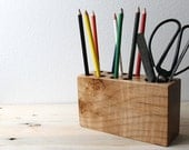 Modern Wood Desk Organizer in a vintage style with eco friendly Locally Salvaged Western Maple