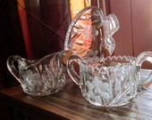 Vintage Cream Sugar and Candy Etched Dish set of 3