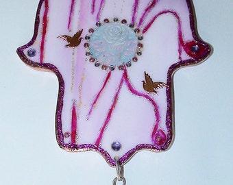 Pink Glass Hamsa for Wall Decoration