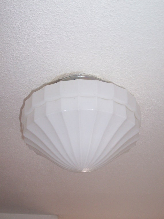 Art Deco milk glass ceiling light from the 1920s perfect for elegant bathroom, hallway or living