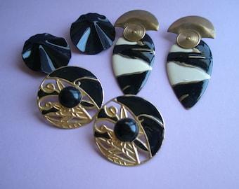 80's Earrings, set of 3, Black, White and Gold, pierced, large, huge, vintage, metal, goldtone, enamel, original, Disco, egst, Greece