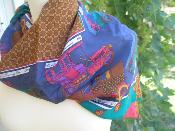 FREE shipping-Lovely Silk Scarf, 'J.G.Hook', antique automobile pattern, bright colors, cars, neck wrap, sash, head wrap