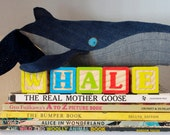 Humpback whale Mama, handmade large eco-friendly plush  whale created out of repurposed vintage denim