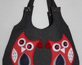 red twin owls applique large ,cute , hobo bag/shoulder bag/hand bag/denim shoulder bag