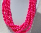 Neon Pink Multi-Strand Statement Necklace