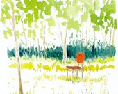 Garden Landscape Art Print of Original Watercolor  --Red Chair