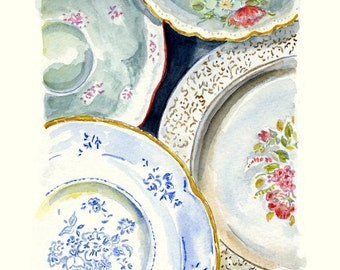 Still Life Kitchen Decor of Original Watercolor Painting -- Vintage Plates 2