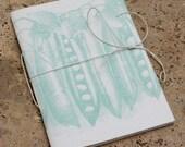 Summer green 'pea-pod' linen covered notebook A5