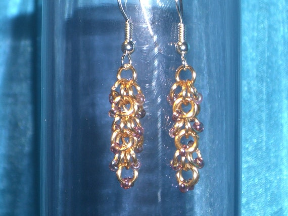 Gold Beaded Shaggy Loops chainmaille earrings