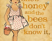 "Paper Doll Art Girl Honey Bee for Child's Room Large 16"" x 20"" Canvas Wrapped Frame: Honey Girl"