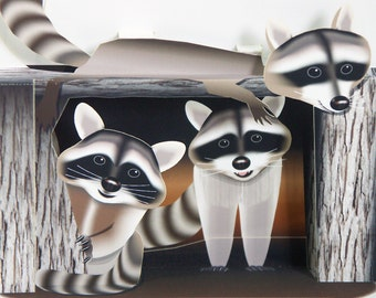 3D Pop up Raccoon Fathers Day Card three rascals Available in two sizes