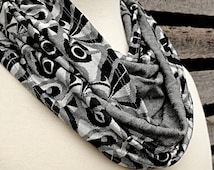 Art Deco Infinity Scarf - Black, White and Grey Print Circle Scarf - SALE