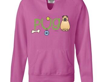 Pug Doodle Ladies Garment Dyed Hoodie Sweatshirt
