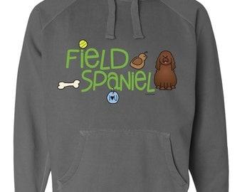 Field Spaniel Doodle Garment Dyed Hoodie Sweatshirt