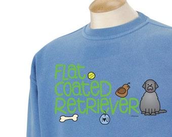 Flat Coated Retriever Doodle Garment Dyed Crew-neck Sweatshirt