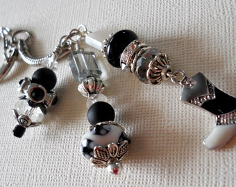 Black, Gray and White Beaded Key Chain with Cowgirl Boot Charm