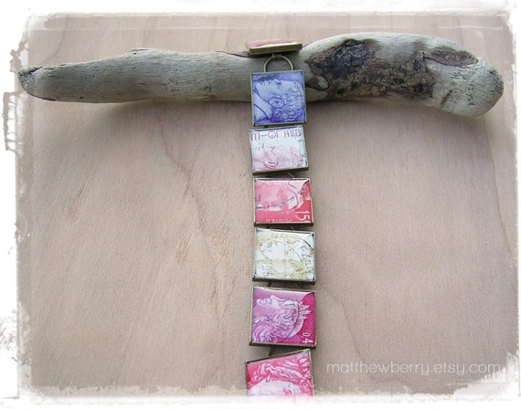 Foreign Stamp Bracelet - Philatelist Jewelry - Recycled Paper Jewelry