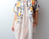 Vintage watercolor floral summer short sleeve jacket