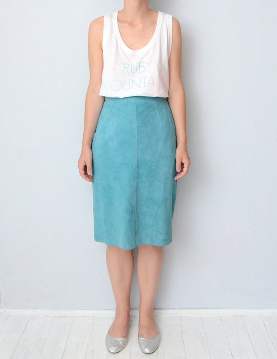 vintage turquoise suede pencil skirt by zvezdanavintage on